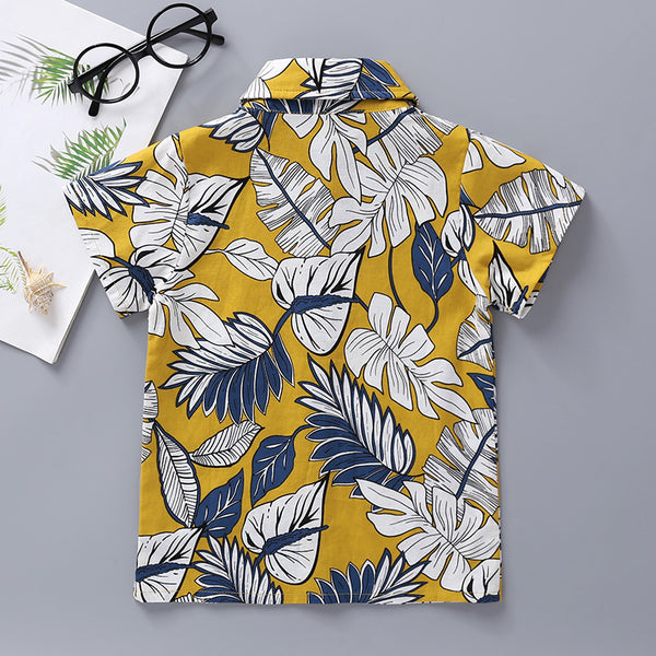 15PCS No Profit On Sale Boys Lapel Leaf Printed Short Sleeve Shirts bulk childrens clothing suppliers