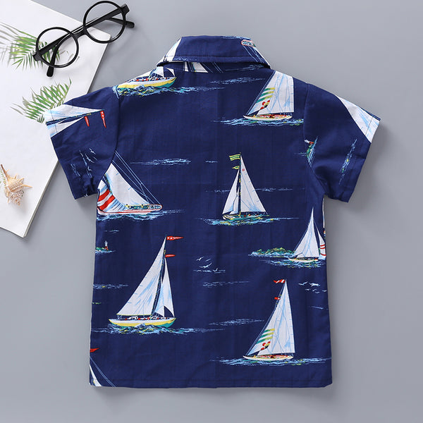 15PCS No Profit On Sale Clearance & Closeout Specials Boys Hawaiian Sailboat Short Sleeve Shirts kids wholesale