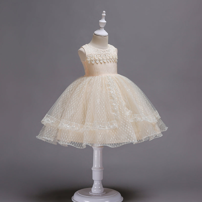 Beautiful Girl Embroidered Princess Lace Dress