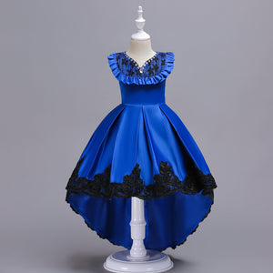 Girl Prom Dress V-neck Embroidered Dress Tail Lace Princess Dress