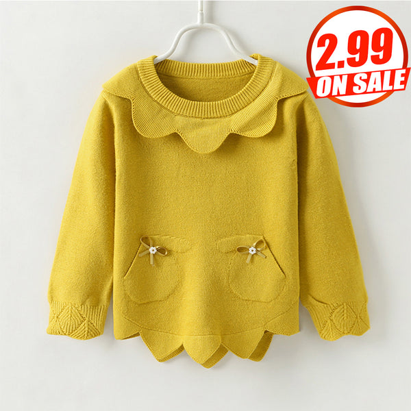 16PCS No Profit On Sale Clearance & Closeout Specials Girls Solid Color Long Sleeve Sweaters wholesale children's boutique clothing suppliers usa