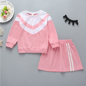 Girls Casual Round Neck Long Sleeve Top And Solid Color Sports Skirt