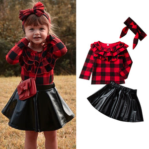 Fashionable Girls Pleated Collar Plaid Long Sleeve Leather Skirt Suit