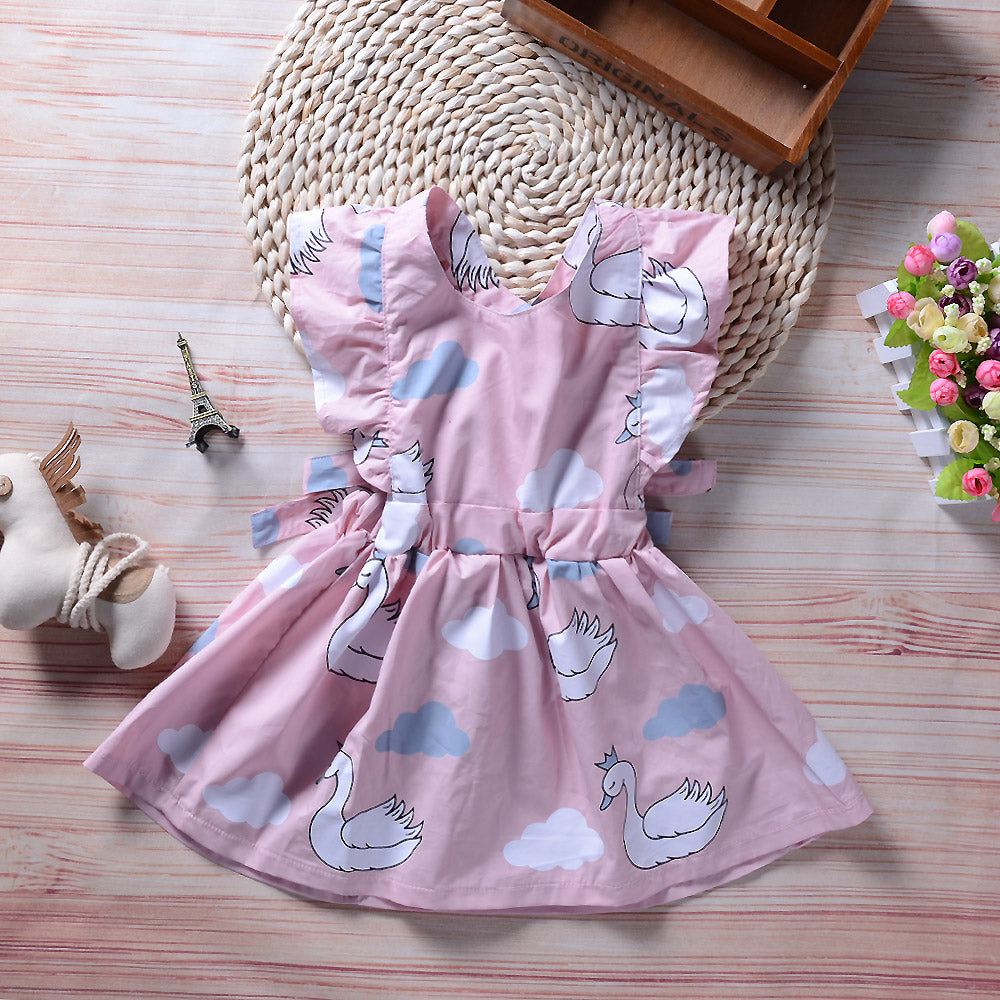 Princess Dress Swan White Cloud Print Backless Dress For Girls