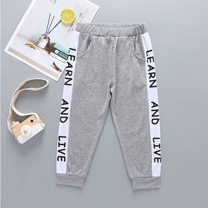 Boys Letter Print Constrast Track Pants