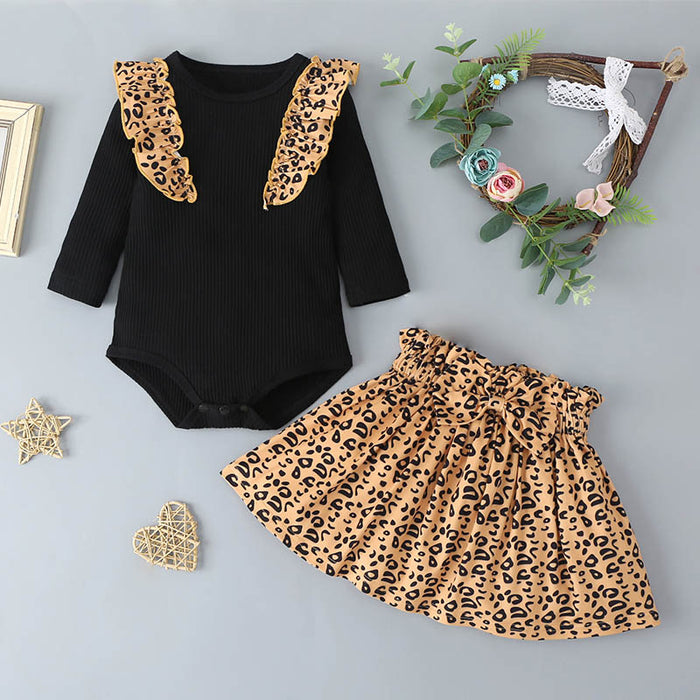 Baby Girls Stylish Solid Color Ruffled Top And Leopard Short Skirt
