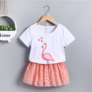 Girl Fashion Flamingo Cartoon Print Top And Solid Color Short Skirt