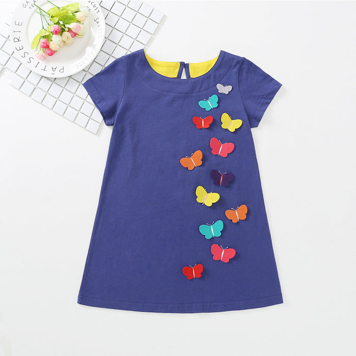 Toddler Girls Butterfly Patch Dress Solid Color Princess Dress