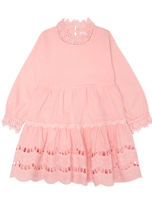 Girls Long Sleeve Lace Hollow Out Skirt Lace Collar Princess Dress