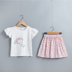 Toddler Girls Bowknot Decor Cartoon Girl Top And Floral Skirt