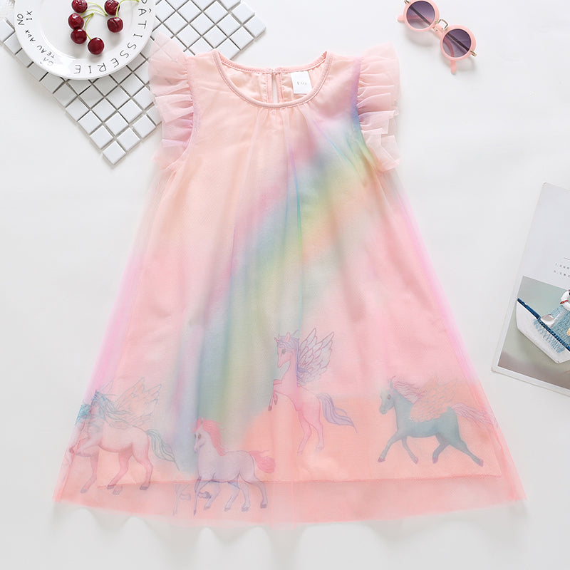 Toddle Girls Unicorn Peppa Pig Snow White Multi Color Rainbow Mesh Dress