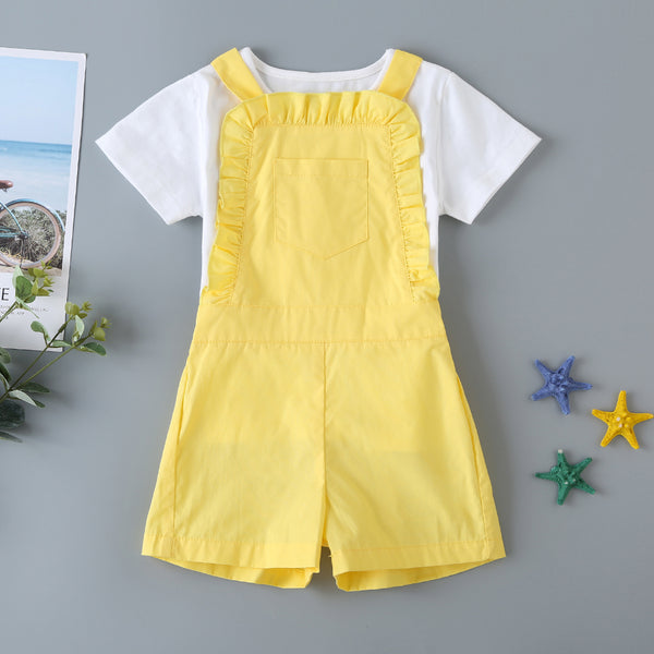 Summer Children'S Clothing Children'S Suit Yellow Bib Cotton Two-Piece Suit For Small And Medium-Sized Children Baby Girl Wholesale