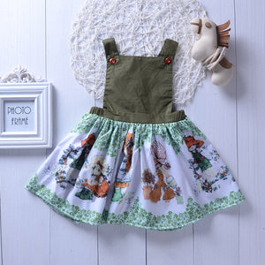 Fashionable Girls Cartoon Print Army Green Dress Cross Strap Skirt