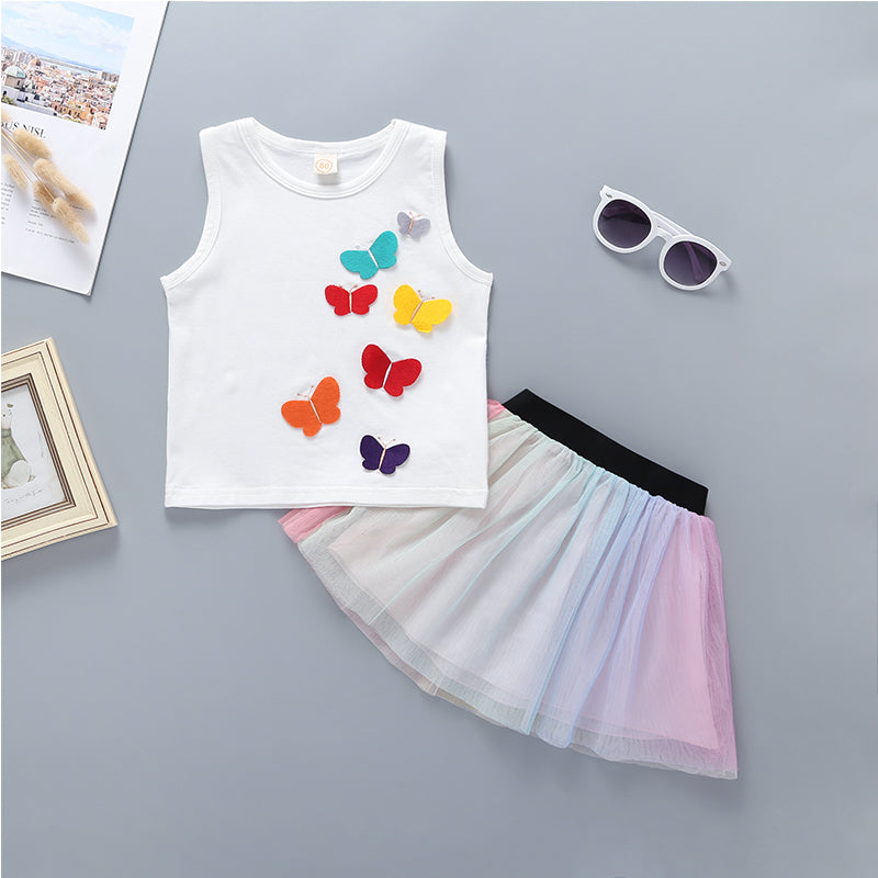Baby Girls Butterfly Vest Top & Colorful Skirt