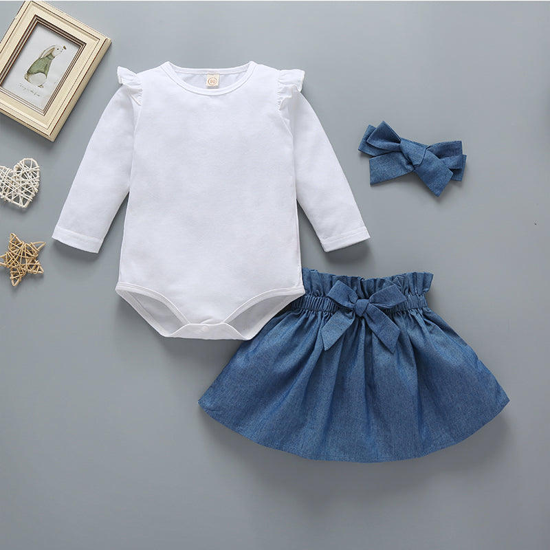 Baby Girls Solid Color Long Sleeve Top and Bowknot Decor Dress