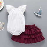 Baby Girls Lace Fly Sleeve Top & Bowknot Tutu Skirt