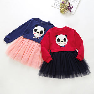 Girls Cute Panda Embroidered Bowknot Decor Mesh Dress