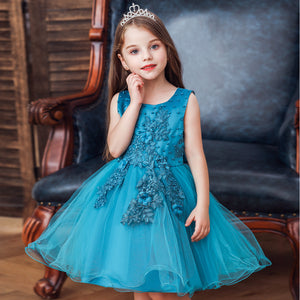 Girls Party Dress Sleeveless Mesh Tutu Dress Princess Wedding Dress