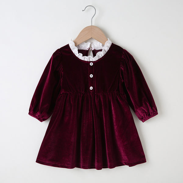 Baby Girls Buttons Long Sleeve Dress Wholesale Clothing For Children