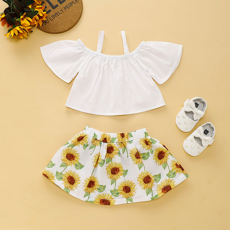 Baby Girls Solid Color Suspender Top & Sunflower Short Skirt