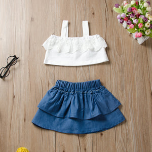 2-Piece Suspender Solid Color Top Denim Skirt For Toddler Girls