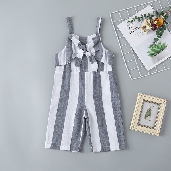 Summer New Children'S Pants Girls Gray And White Striped Suspenders Trousers Children'S Korean Casual Pants Girl Boutique Clothing Wholesale