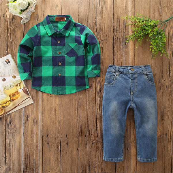 Boys 2-Piece Plaid Long Sleeve Shirt & Jeans Boys Boutique Clothing Wholesale