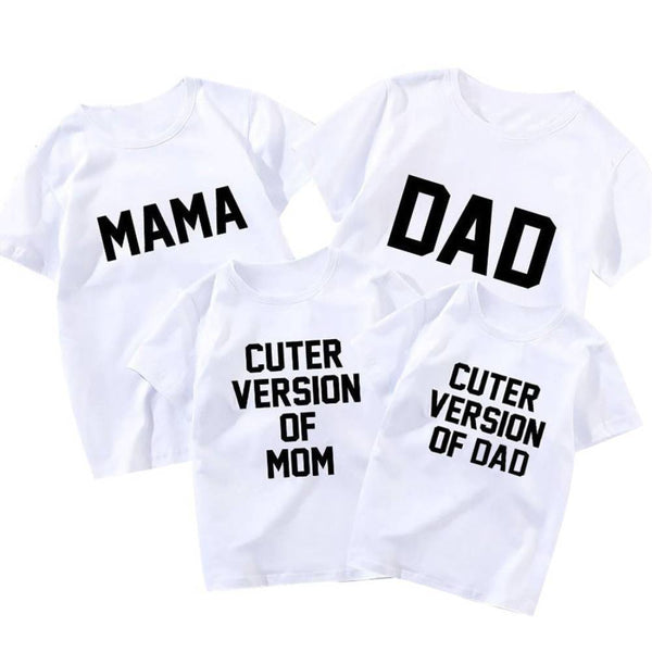 COTTNBABY Letter Print Cuter Version of Dad Mama White T-shirt