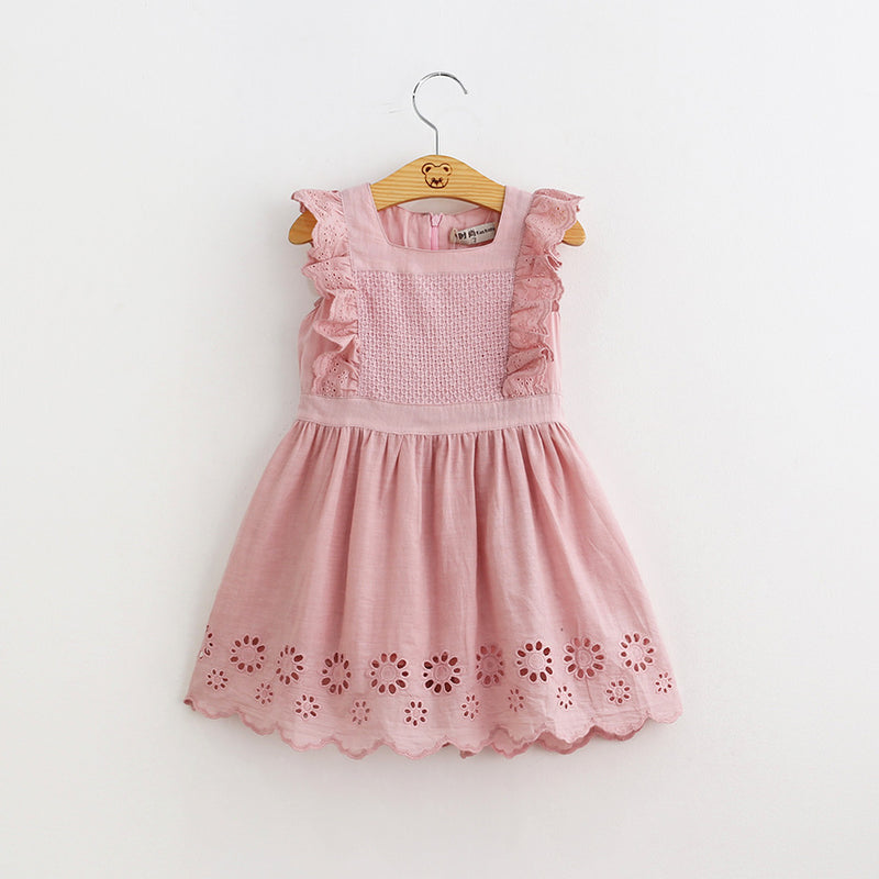 Sweet Pure Cotton Hollow Out Waistcoat Dress