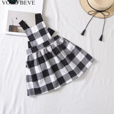 Fashionable Girls Casual Plaid Strap Dress