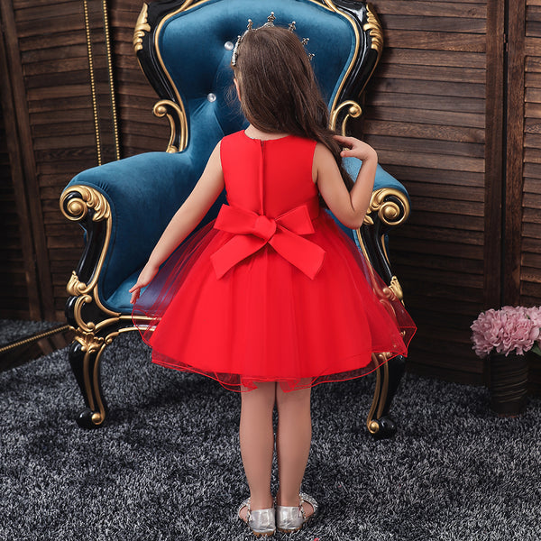 Christmas Red Princess Girl Evening Dress Performance Clothes