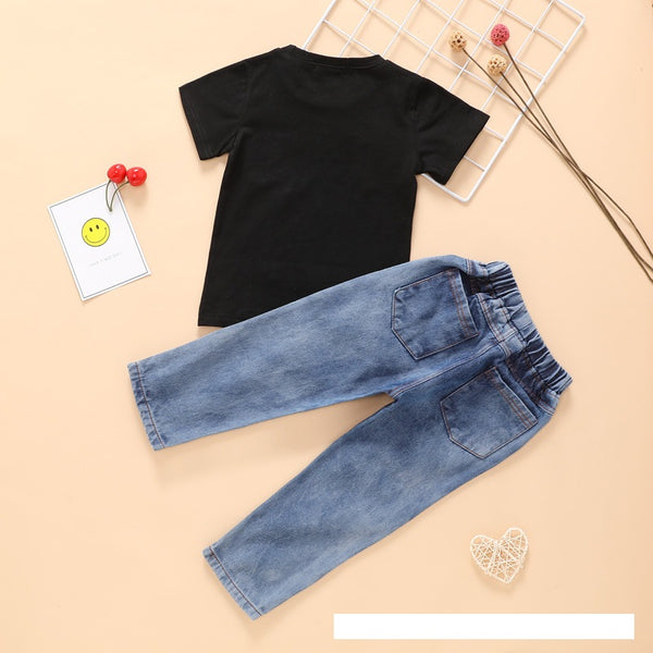 Boys Summer Boys' Letter Printed Round Neck Short Sleeve T-Shirt & Jeans Boy Clothes Wholesale