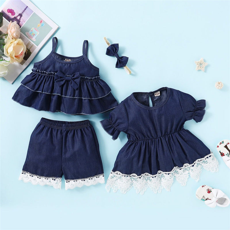Girls Short Sleeve Lace Denim Splicing Dress Wholesale Baby Girl Clothes