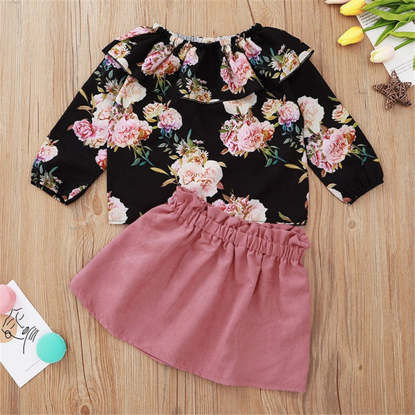 Toddler Girls Floral Printed Long Sleeve Top & Skirt Wholesale Girls