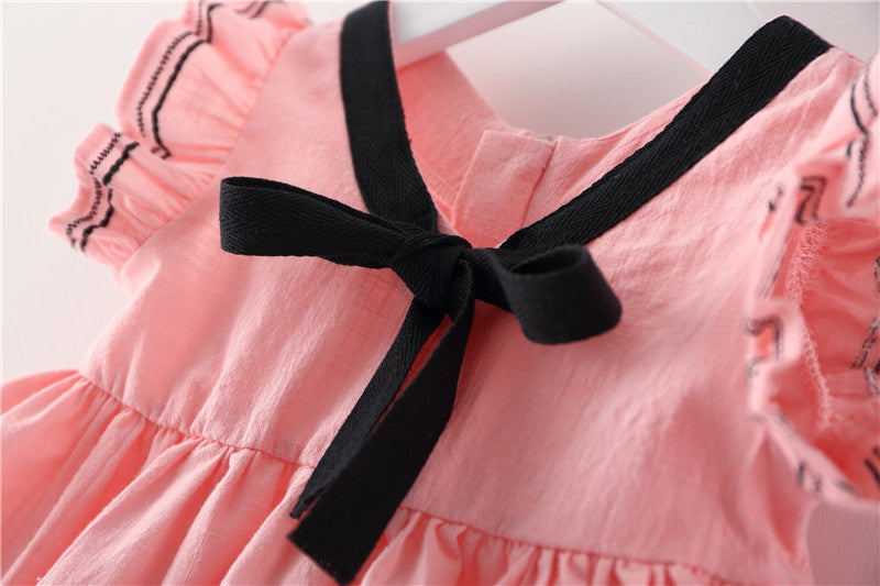 Baby Girls Preppy Style Solid Color Princess Dress