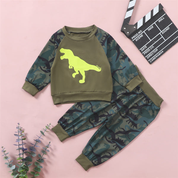 Baby Boys Dinosaur Nature Printed Long Sleeve Top & Pants Cheap Baby Boutique Clothes