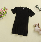 Toddler Girls Long Solid Color Short Sleeve Top Knitted Dress