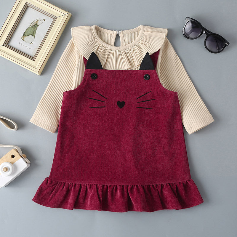 Baby Girls Solid Color Doll Collar Top And Cat Printed Corduroy Skirt