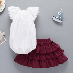Baby Girls Lace Fly Sleeve Top Bowknot Solid Color Tutu Princess Skirt