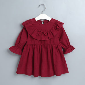 Baby Girls Fashion Lace Solid Color Dress Bowknot Decor Princess Dress