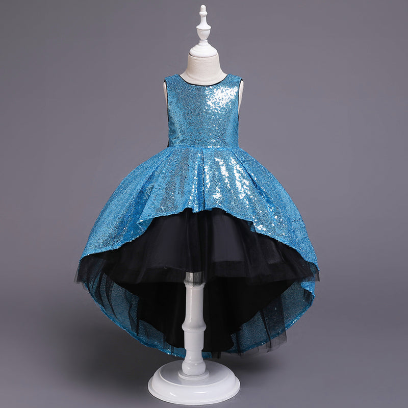 Girl Prom Sequin Dress Tail Princess Skirt Mesh Dress