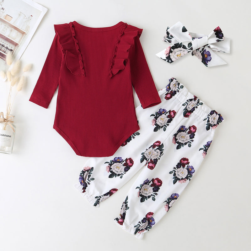 Baby Casual Solid Long Sleeve Romper & Floral Pants & Headband