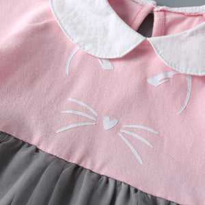 Baby Girls Cute Lapel Cat Mesh Skirt Splice Princess Sress