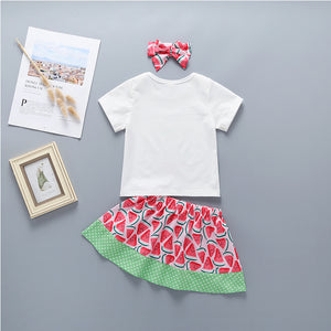 3-Piece Letter Print Top And Watermelon Dot Print Skirt For Baby Girls