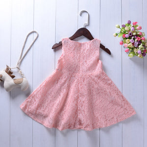 Fashionable Girls Solid Color Sleeveless Dress Flower Princess Skirt