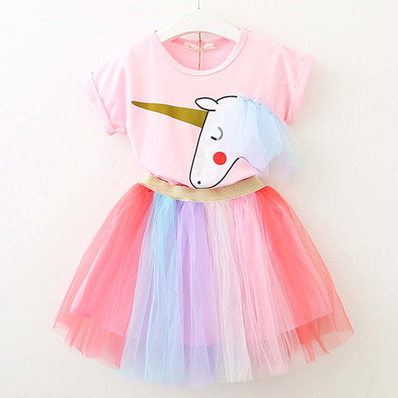 Fashionable Girls Cartoon Unicorn Top Rainbow Mesh Skirt
