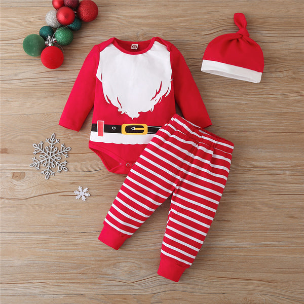 Baby Unisex 3-Piece Christmas Striped Romper Sets Baby Clothes Vendors