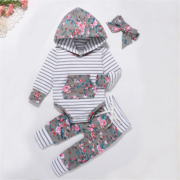 Baby Girls 3-Piece Floral Stripe Printed Hooded Sets Baby Wholesale