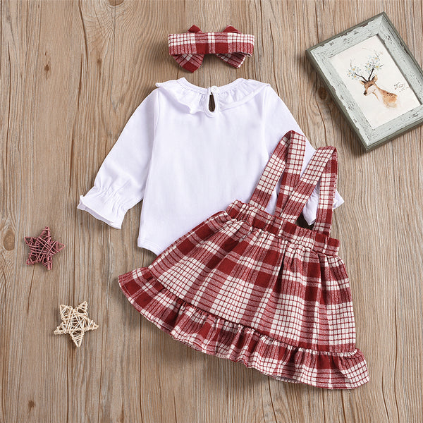 Baby Girls 3-Piece Romper & Plaid Skirt & Headband Wholesale Baby Clothes In Bulk