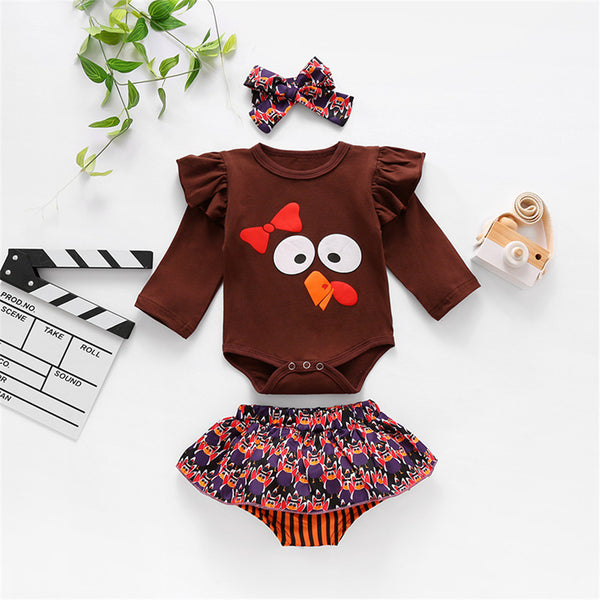 Baby Girls 3-Piece Thanksgiving Rompers & Headband Baby Clothes Suppliers